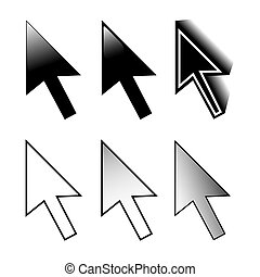 Set of mouse 6 arrow cursor variations