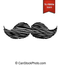 Set of moustaches icon with pen effect