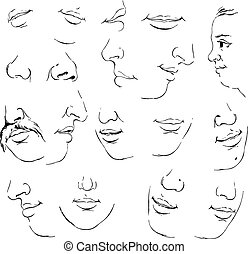 Set of mouth - mouth cartoon emotions set vector ...