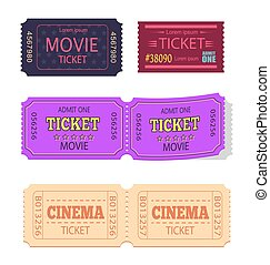 Set of Movie Cinema Tickets Admit One Vector Icons