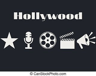 Set of movie design elements and cinema icons. Hollywood icons set. Film reel, movie clapper, microphone.