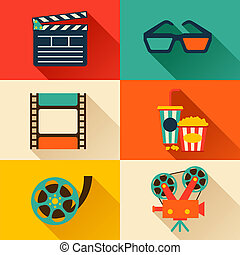 Set of movie design elements in flat style. - Set of movie...