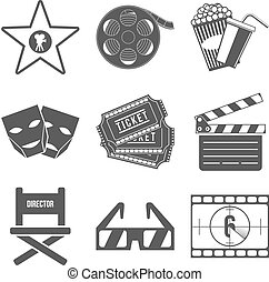 Set of Movie Icons Flat design Vector