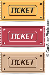 Set of movie ticket icons with shadow on a white background