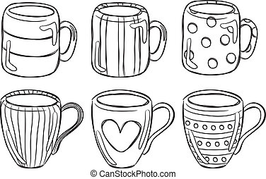 set of mug in doodle style