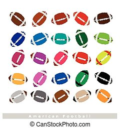 Set of Multi-colored American Footballs on White