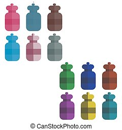 set of multi-colored bottles in the style of flat. vector illustration.