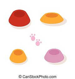 Set of multi-colored bowls for pets isolated on white background. Vector illustration.