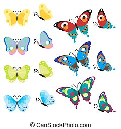 Set of multi-colored butterflies. Insects are a top view and side. Vector, illustration in flat style isolated on white background EPS10.
