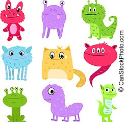 Set of multi-colored cartoon cute monsters not similar to each other. Baby animals.