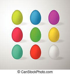 Set of multi colored easter eggs isolated on white background.