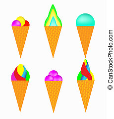 Set of multi-colored ice-cream on a white background
