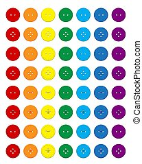Set of multi-colored round buttons of clothes in rainbow colors. Vector on a white background