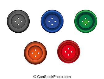 Set of multi-colored sewing button. Stud icon