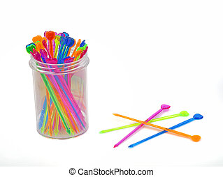 Set of multi-colored skewers isolated on white background