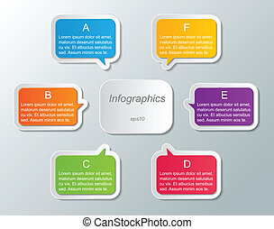 infographic template - set of multi colored speech bubble...