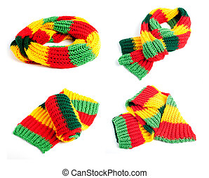 Set of multi colored striped scarf isolated on a white background.