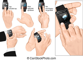 Set of multi-touch gestures for smart-watch. Tap, flick, two...