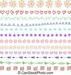 Set of multicolor hand drawn vintage design elements.