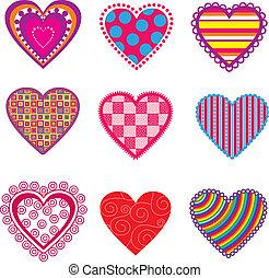 Set of multicolor hearts