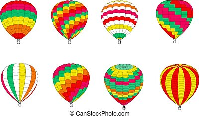 Set of multicolored balloons on a white background. Vector illustration