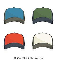 Set of multicolored baseball caps.