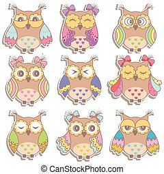 Set of multicolored, beautiful owls
