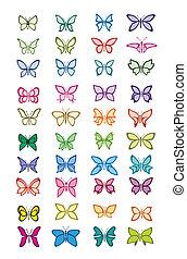 set of multicolored butterflies