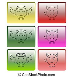 Set of multicolored buttons with the image of an angel and a demon. Vector graphics