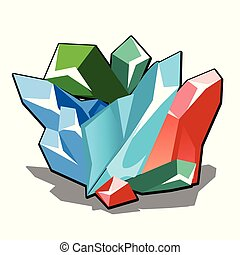 Set of multicolored crystalline minerals isolated on white background. Vector cartoon close-up illustration.