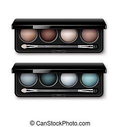 Set of MultiColored Eye Shadows, Makeup Applicator