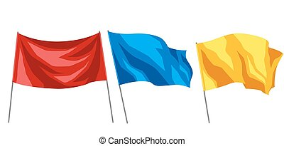 Set of multicolored flags on white background