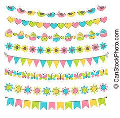 Set of multicolored flat buntings garlands flags isolated on white