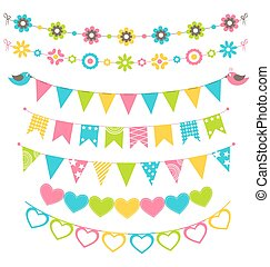 Set of multicolored flat buntings garlands flags with...