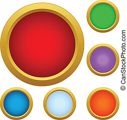 Set of multicolored glass buttons