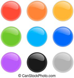 Set of multicolored glass spheres with shadows
