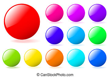 Set of multicolored glossy vector spheres with shadow....