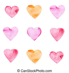 Set of multicolored hearts painted in watercolor