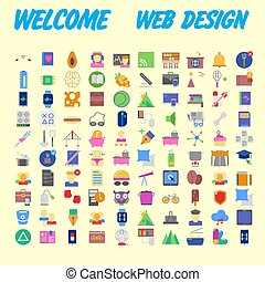 Set of multicolored icons for your design. Vector