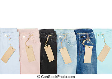 Set of multicolored jeans