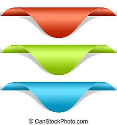Set of multicolored label corners