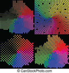 Set of Multicolored mosaic. abstract background. Vector