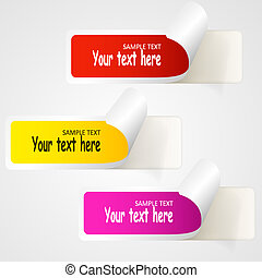 Set of multicolored paper stickers. Web icons