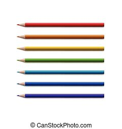 Set of Multicolored Pencils Isolated on White