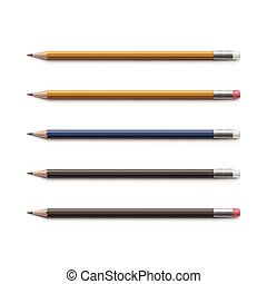 Set of Multicolored Pencils with Erasers Isolated