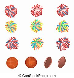 Set of multicolored pom-poms. Basketball and football balls....