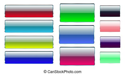 Set of multicolored rectangular and square glass transparent colorful bright beautiful vector buttons with silver metallic frame for clicks, clicking icons for the site. Vector illustration