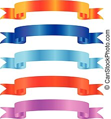 Set of multicolored ribbon banners.