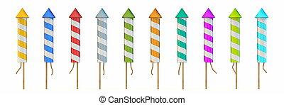 Set of multicolored rocket fireworks 3D - Set of ...