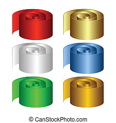 Set of multicolored rolls. The isolated objects on a white background.